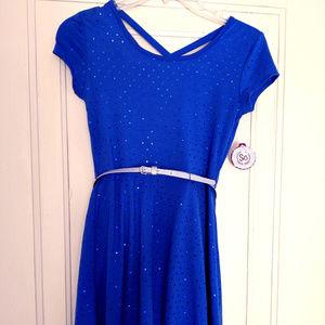 NWT! Girl's So Short Sleeve Cobalt Blue Dress